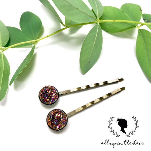 All Up In The Hair - Champagne Druzy Bobby Pins