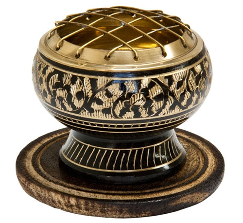 Brass Carved Screen Charcoal Burner - 2.5""