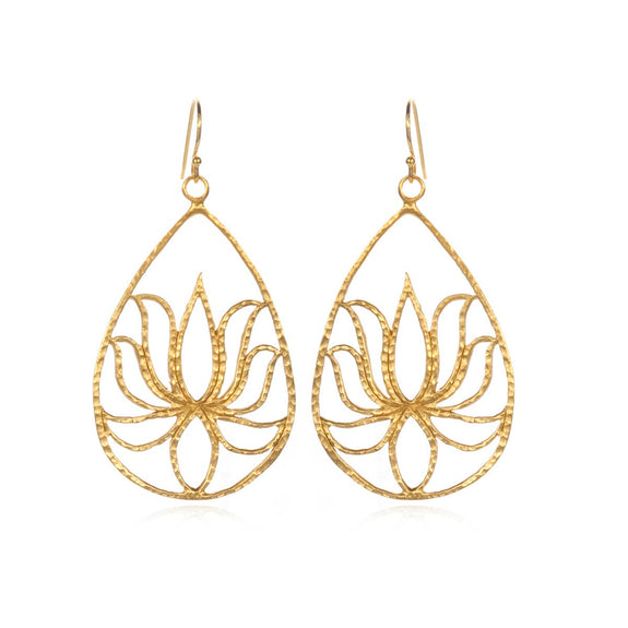 Satya Jewelry - Teardrop Lotus Earrings - Silver