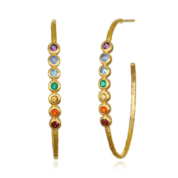 Satya Jewelry - Chakra Hoop Earrings - Silver