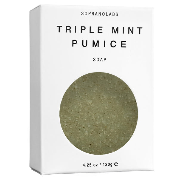 SopranoLabs - TRIPLE MINT PUMICE Vegan Soap. Spring Summer Holidays Gift