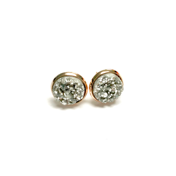 All Up In The Hair - Silver Druzy Earrings