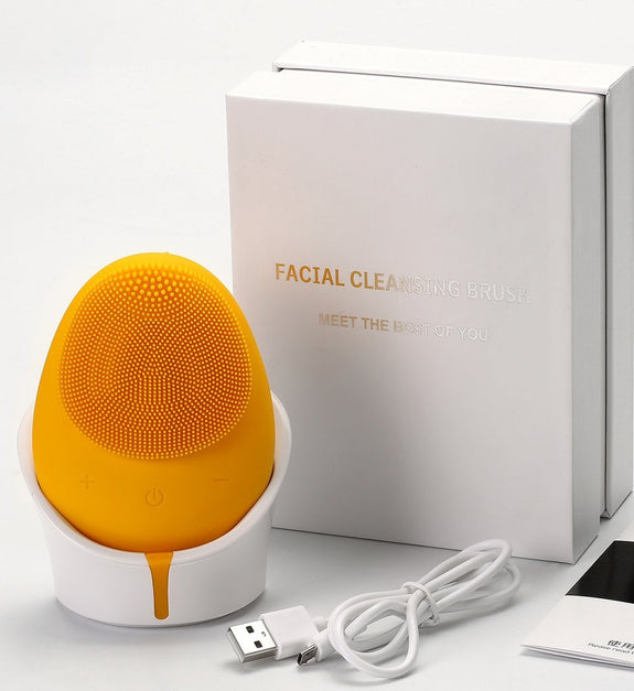 Zaq - MELLOW SILICONE FACIAL CLEANSING BRUSH Yellow
