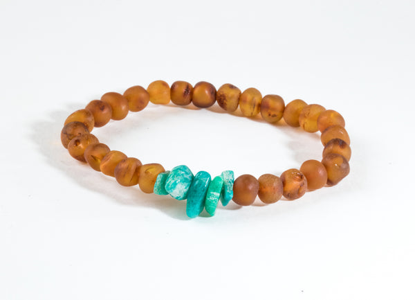 CanyonLeaf - Adult: Raw Baltic Amber + Raw Green Amazonite
