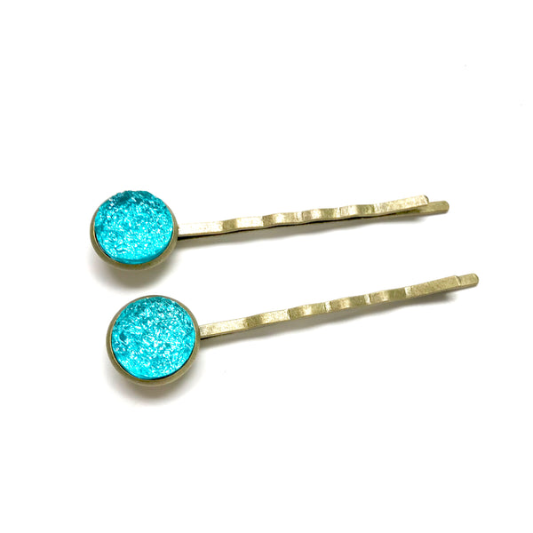 All Up In The Hair - Teal Druzy Bobby Pins