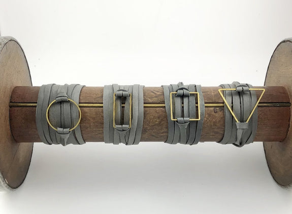 Crunchy Diva Designs - Double Grey Leather Wrap - Brass