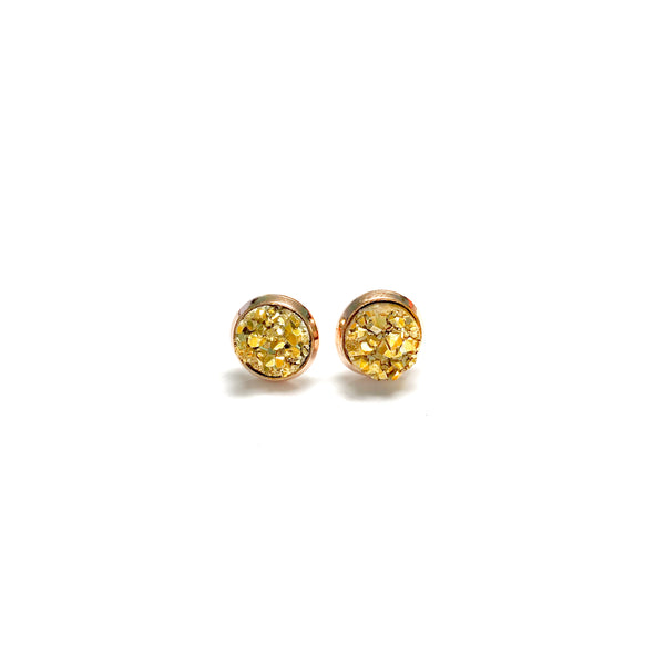 All Up In The Hair - 8mm Gold Druzy Earrings