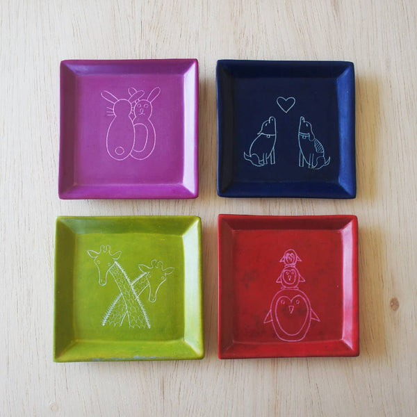 Venture Imports - Square Animal Dish