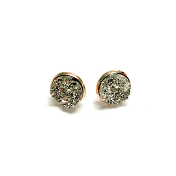 All Up In The Hair - Pewter Druzy Earrings