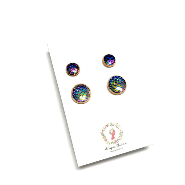 All Up In The Hair - Mommy and Me Dark Purple Mermaid Earrings Set