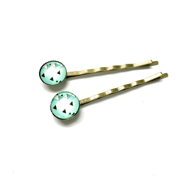 All Up In The Hair - Mint Geometric Bobby Pins