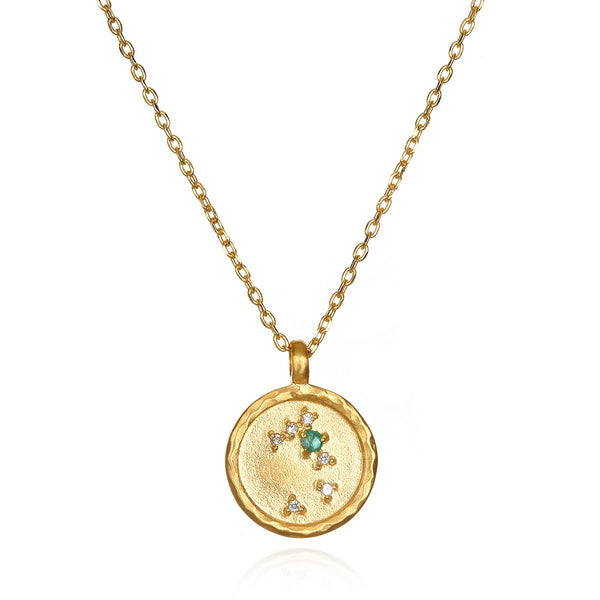 Taurus Zodiac Emerald-White-Topaz Necklace