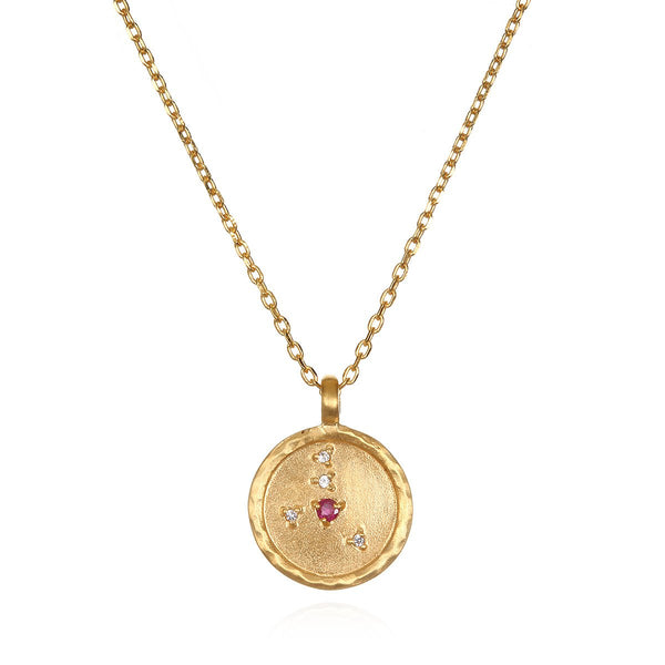 Cancer Zodiac Ruby-White-Topaz Necklace