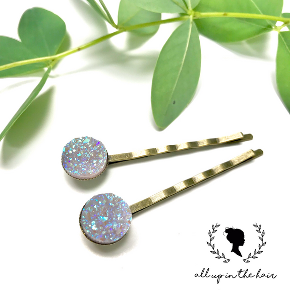All Up In The Hair - White Druzy Bobby Pins