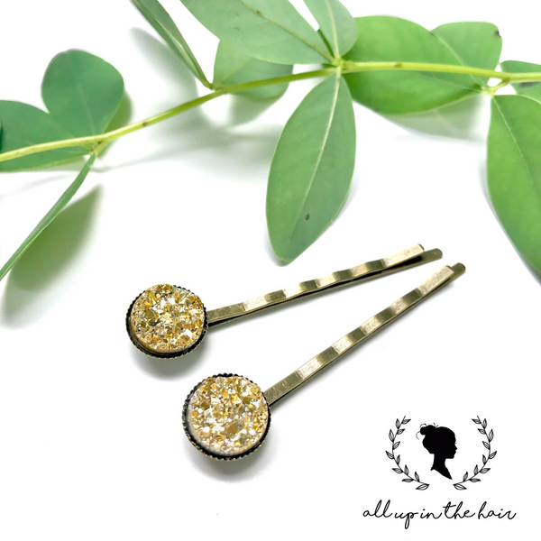 All Up In The Hair - Gold Druzy Bobby Pins