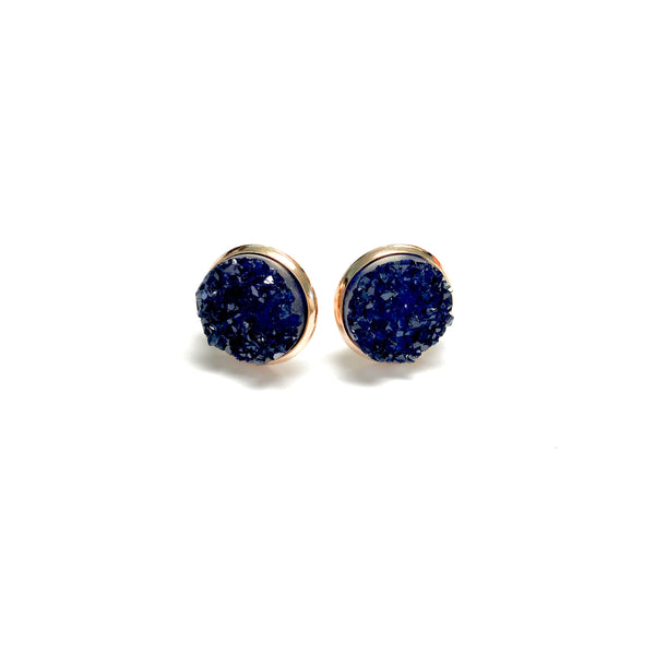 All Up In The Hair - Navy Blue Druzy Earrings