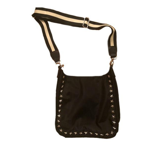 Black Nylon Messenger w/Star Grommets