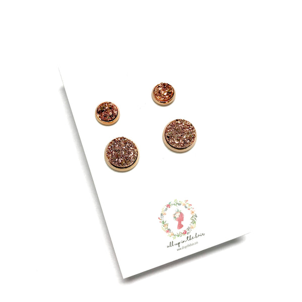 All Up In The Hair - Mommy and Me Rose Gold Druzy Earrings