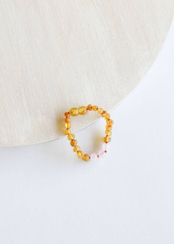 CanyonLeaf - Kids: Raw Honey Amber + Rose Quartz Anklet or Bracelet