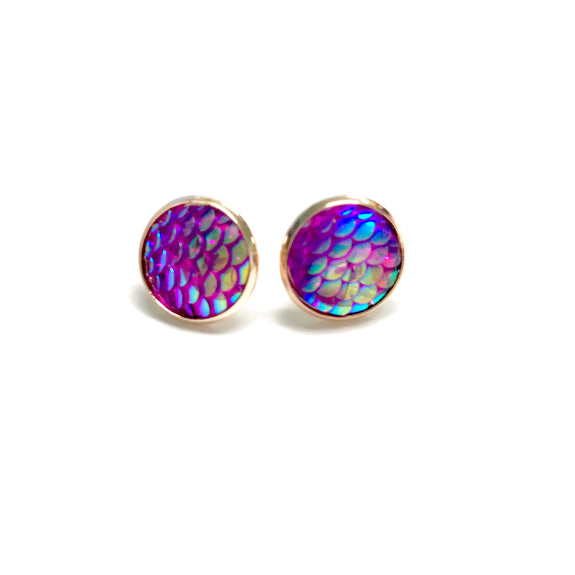All Up In The Hair - Bright Purple Mermaid Earrings