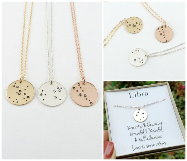 Vintage Stamp Jewels - Gold SINGLE Constellation Necklaces