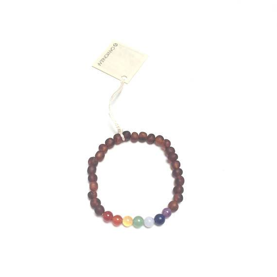 CanyonLeaf - Adult: Raw Baltic Amber + Chakra Crystals Bracelet