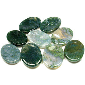 Moss Agate Worry Stones