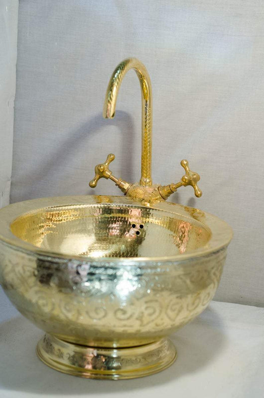 Carmen Solid Brass Double Round Vessel Sink, With Sink Drain Kit