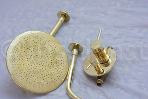 Olivia Brass Wall Mount Shower System Combo, With Tub Filler And Head Shower, Valve Included