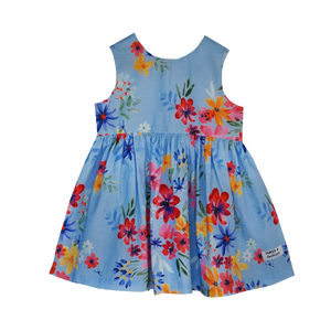 Dusty Blue Flowers Dipped Back Dress