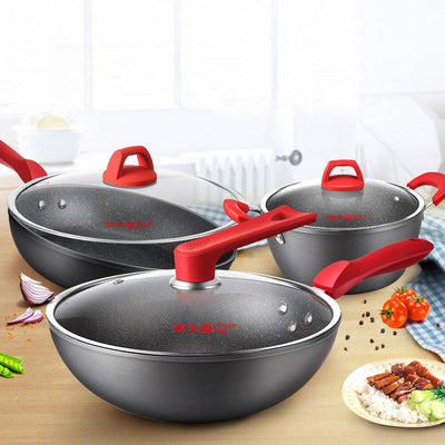 3Pcs Red Medical Stone Non-stick Cookware set - Cooker King