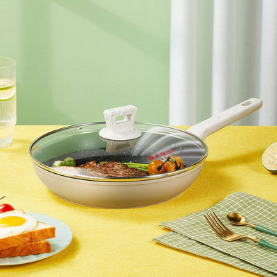 10/11 Inch Yellow Non-stick Frying Pan with Lid