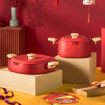2Pcs Festive Red Non-stick Cookware Set - Cooker King