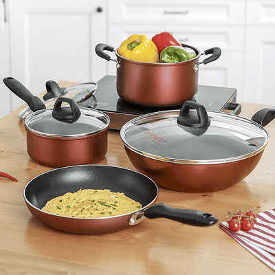 4Pcs red non-stick cookware set - Cooker King