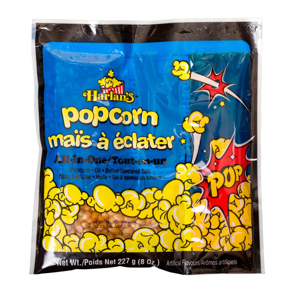 HARLAN'S ALL IN ONE PRE-PORTIONED POPCORN KITS FOR A 6 oz POPPER 36/8 oz