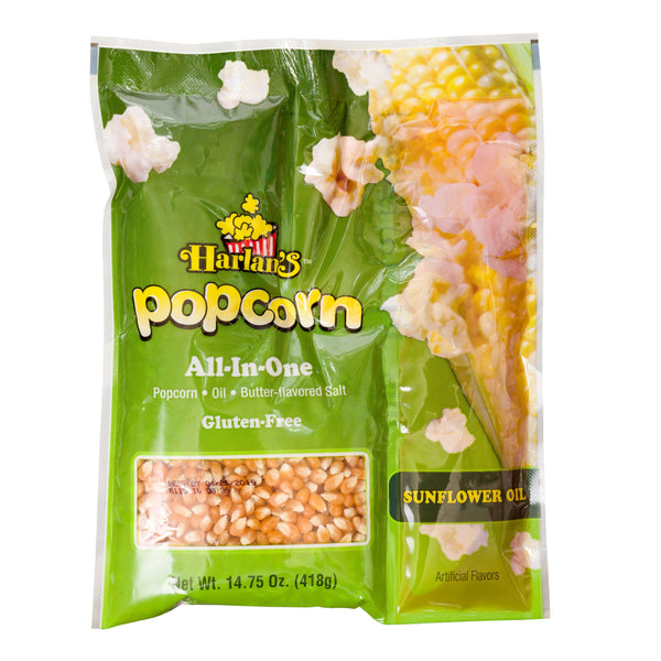 HARLAN'S ALL IN ONE PRE PORTIONED POPCORN KITS (WITH SUNFLOWER OIL) FOR A 12 OZ POPPER 24/14.75 oz