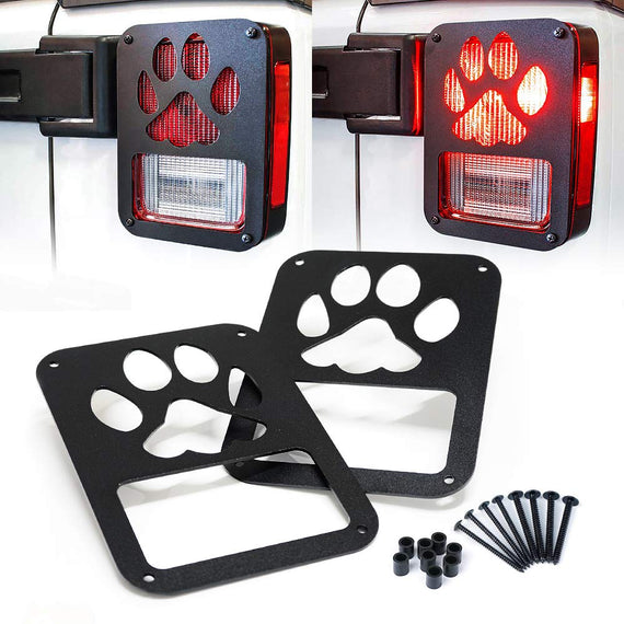 Black Rear Taillight Covers with Paw Print Design for 2007 - 2018 Jeep Wrangler JK