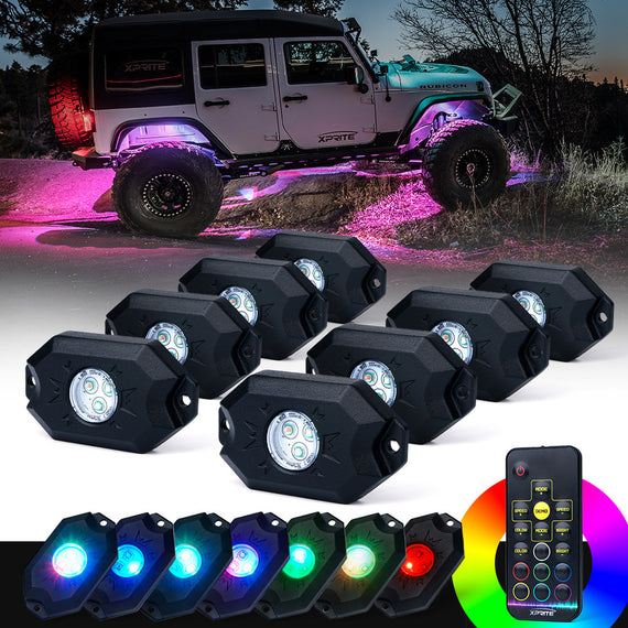 Xprite Victory Series Remote Control RGB LED Rock Lights