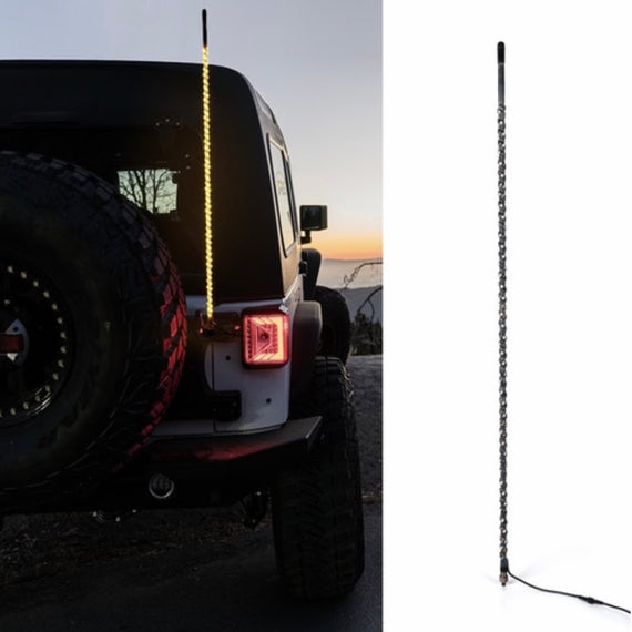 4ft CB Radio Antenna with Spiral Amber LED Whip Lights