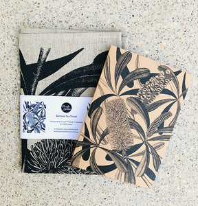 Botanical Art Tea Towel and Notebook Gift Pack