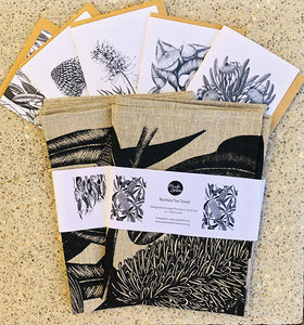 Botanical Tea Towel and Greeting Card Set Gift Pack