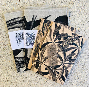 Botanical Art Tea Towels and 2 Notebooks Gift Pack