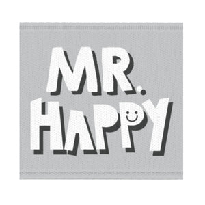 "Satinlabel ""Mr. Happy"" // 1 Stück"