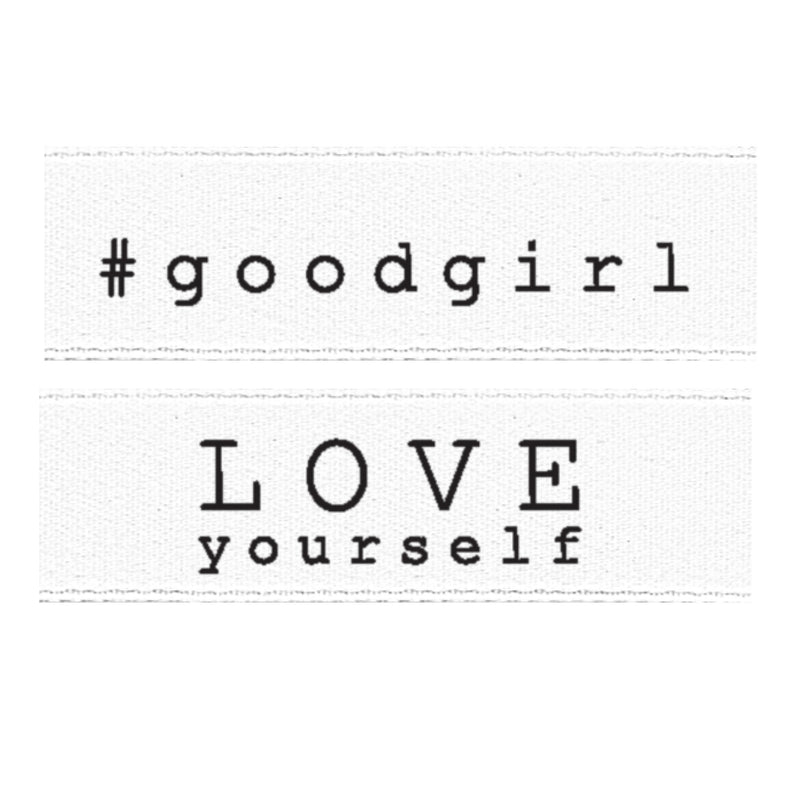 "Satinlabel ""#good girl + Love yourself"" // 2 Stück"