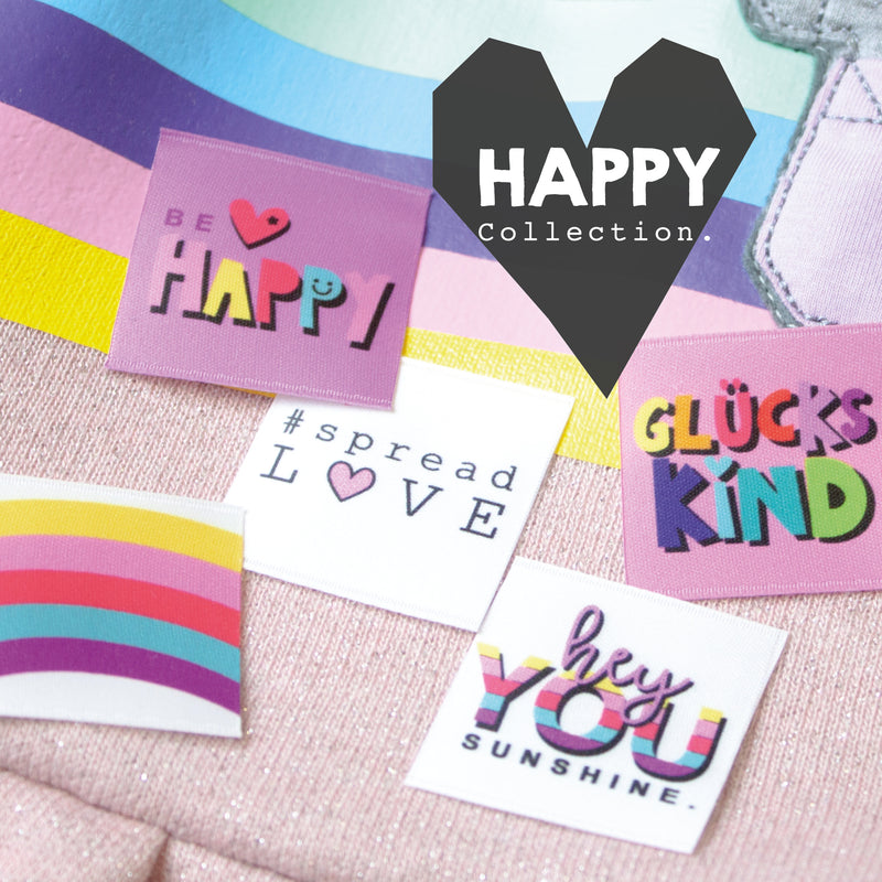 Satinlabel SET #Happycollection // 5 Stück