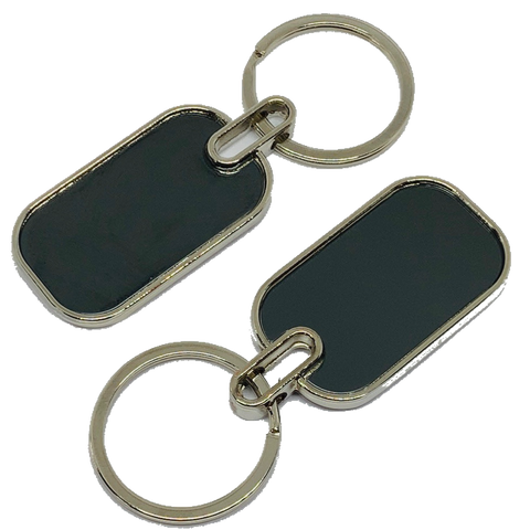 Blank Metal Key Chain Tags Rectangle Double Sided Recess