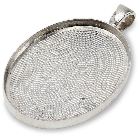 Wholesale Blank Metal Pendants Oval Silver