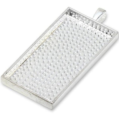 Wholesale Blank Metal Pendants Rectangle Silver