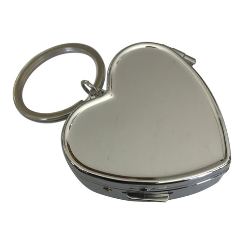 Wholesale 35 Blank Metal Pill Box Case Container Heart with Key Chain