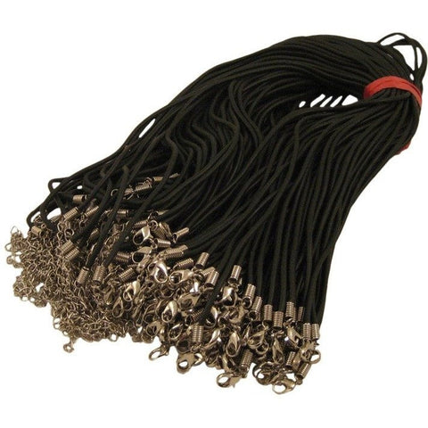 Wholesale Rubber Cord Necklace Black